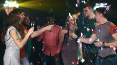 Nightclub : company of friends  party and dancing clink glasses Stock Footage