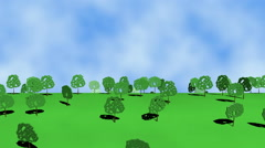 Cartoon trees in the meadow Stock Footage