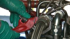 Engineers Repairing a Gas Turbine Stock Footage