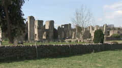 Sightseers walk in the grounds of Easby Abbey. Stock Footage