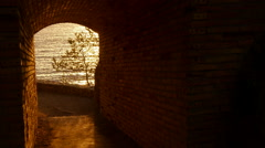 Sunrise Golden Waters at the End of the Tunnel Stock Footage