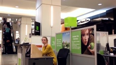 One side of H&R Block inside shopping mall Stock Footage