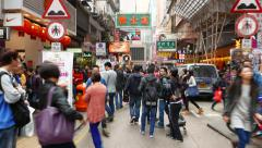 Crowdy street of HongKong, struggle forward through the crowd Stock Footage