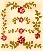 Vintage vignette of red flowers and leaves - stock illustration