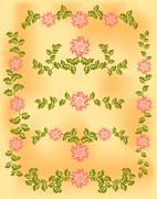 Vintage vignette of pink flowers and leaves on old paper Stock Illustration