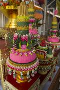 flower thai style on shrine worship colorful concept - stock photo