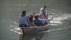 Rowing boat on Lake,Pokhara,Nepal Stock Footage