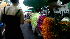 "Flower market in Thailand name ""Pak Klong Talad"" Stock Footage"