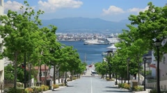 Sloping road near Hakodate port, Hokkaido, Japan Stock Footage