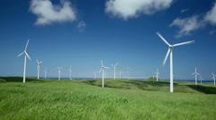 Wind turbines, Hokkaido, Japan Stock Footage