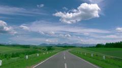 Road in the countryside, Hokkaido, Japan Stock Footage