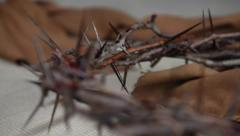 Crown of Thorns and Bible Stock Footage