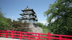 Stock Video Footage of Hirosaki Castle, Aomori Prefecture, Japan