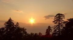 Sunset at Tsubetsu Pass, Hokkaido, Japan Stock Footage