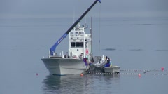 Boat, fishermen, Sea Of Okhotsk, Hokkaido, Japan Arkistovideo