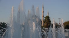 Fountains and the Aya Sofya Mosque,Istanbul,Turkey Stock Footage