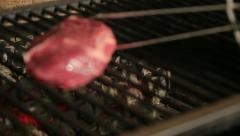 The meat to be roasted on the coals Stock Footage