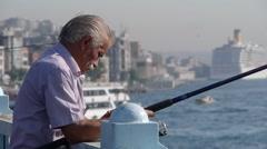 Man fishing,Istanbul,Turkey Stock Footage