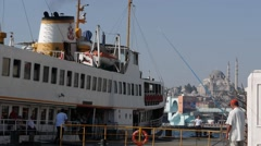 A Ferry arriving,Istanbul,Turkey Stock Footage