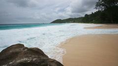 Anse Intendance Under Dark Clouds, Seychelles Stock Footage