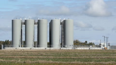 Rural fuel depot. Saskatchewan, Canada. Stock Footage
