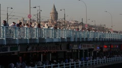 Galata bridge with fishermen,Istanbul,Turkey Stock Footage