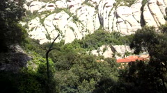 Stock Video Footage of 10s Silent Funicular Angular Tracking Up Montserrat