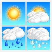 Vector abstract day weather image set - stock illustration