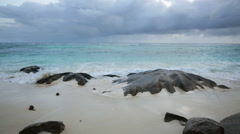 Seychelles Beach Under Dark Clouds Stock Footage