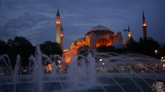 Aya Sophia mosque with fountain in the evening,Istanbul,Turkey Stock Footage