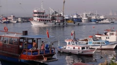 Fisherboat leaving the harbour,Istanbul,Turkey Stock Footage