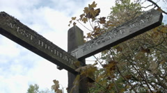 Sign on West Highland Way, Scotland, Walking Holiday Path Stock Footage