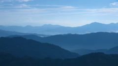 Mountainscape in the morning, Miyagi Prefecture, Japan - stock footage
