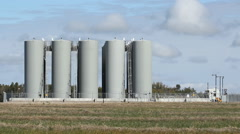 Fuel depot. Saskatchewan, Canada. Light time lapse clouds. Stock Footage