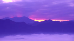 Mountainscape at dawn, Nagano Prefecture, Japan - stock footage