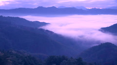 Morning fog, Nagano Prefecture, Japan Stock Footage
