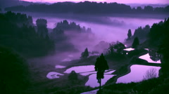 Morning fog, Niigata Prefecture, Japan Stock Footage