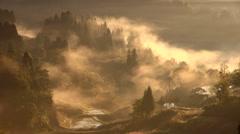 Morning fog, Niigata Prefecture, Japan Stock Footage