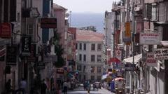 Steep street,Istanbul,Turkey Stock Footage