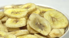 Banana Chips on the Plate Stock Footage