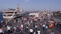 Crowds at a pier,Istanbul,Turkey Stock Footage