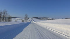 Road covered in snow, Hokkaido, Japan Stock Footage