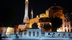 Aya Sophya in the evening,Istanbul,Turkey Stock Footage