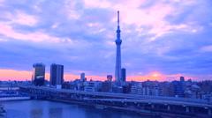 View of Tokyo Sky Tree, Tokyo, Japan Stock Footage