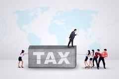 Entrepreneurs with a tax burden Stock Photos