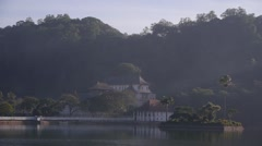 Stock Video Footage of Lake and tooth relic temple,Kandy,Sri Lanka