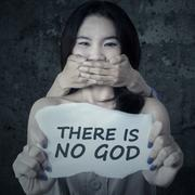 Kidnapped girl is not believe to GOD - stock photo