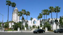 4K, UHD, Beverly Hills City Hall, Los Angeles, California, cars Stock Footage
