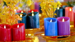Candle for pray buddha Stock Footage
