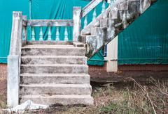 Old concrete staircase - stock photo